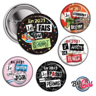 badge personnalisé cabochon resolution humour