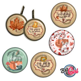 badge personnalisé cabochon automne renard fox