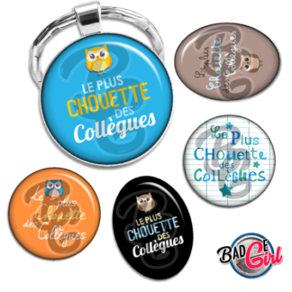 badge cabochon image collegue