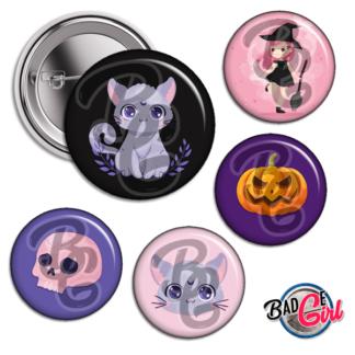badge image cabochon personnalisé halloween chat cat sorciere