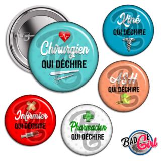 badge image cabochon personnalisé médical soignant coronavirus qui déchire