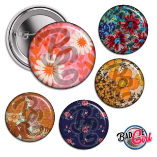 badge image cabochon personnalisé motif motifs pattern wallpaper vintage retro tapisserie kitsch flower fleur