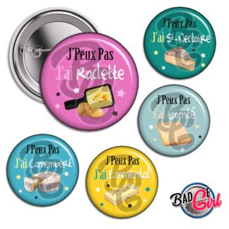 badge image cabochon personnalisé J'peux pas j'ai fromage raclette gastronomie france cheese camembert