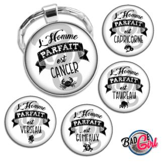 badge image digitale numerique cabochon personnalisé saint valentin femme parfaite humour astrologie signe du zodiaque