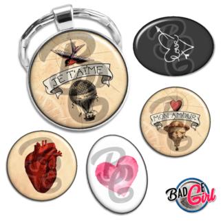 badge image digitale numerique cabochon personnalisé saint valentin amour coeur