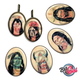 badge image digitale numerique cabochon images apache indien chaman shaman amerindien navajo zuni