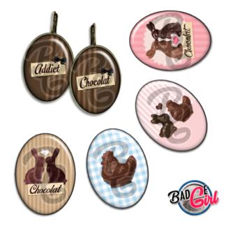badge image digitale numerique cabochon images pâques paque paques chocolat addict lapin poule