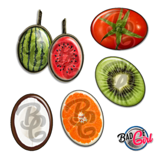 badge image digitale numerique cabochon images fruit fruits pastèque nois de coco citron
