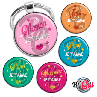badge image digitale numerique cabochon images mother maman papa mamie papy parrain marraine je t'aime