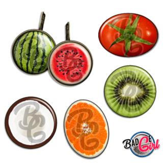 badge image digitale numerique cabochon images fruit fruits pastèque nois de coco citron