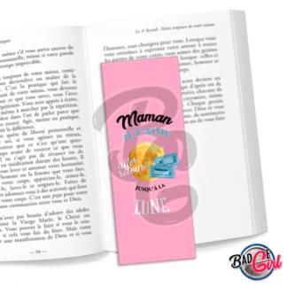 badge image digitale numerique cabochon personnalisé marque page livre lecture maman lune je t'aime