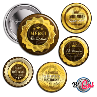 badge image digitale numerique cabochon personnalisé maîtresse merci médaille or maitresse école