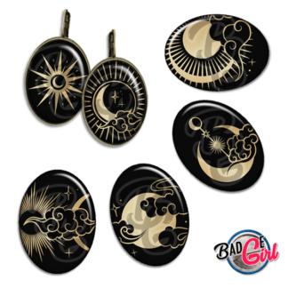 badge image digitale numerique cabochon personnalisé lune moon soleil etoile