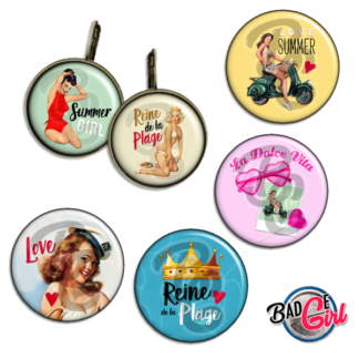 image badge bijou pinup pin up vintage plage reine été summer